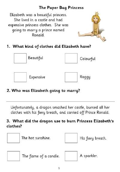 Comprehension worksheets ks1 tes