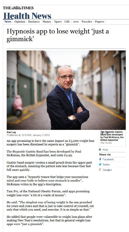 Hypnosis App Paul Mckenna Gastric Band The Times
