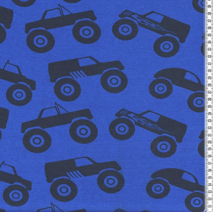 stretch jersey knit fabric monstertrucks blue 95