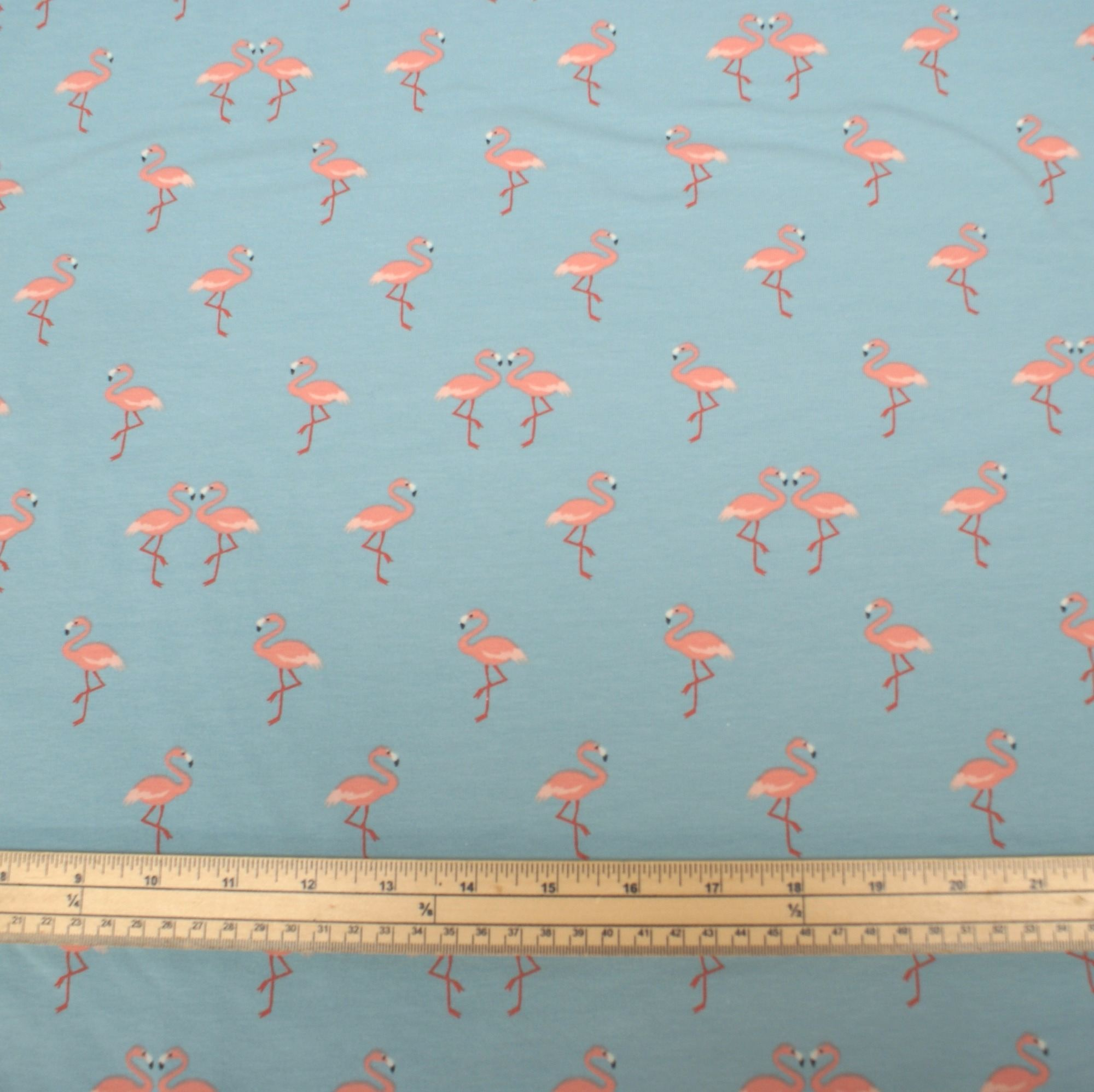 Stretch jersey knit fabric flamingoes light blue 95 for Children s jersey fabric uk