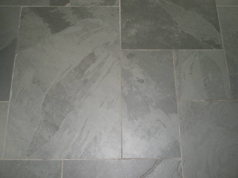 Pale grey floor tiles