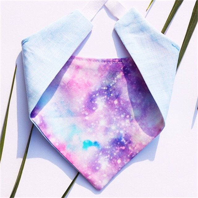 pink and blue space tie on dog bandana