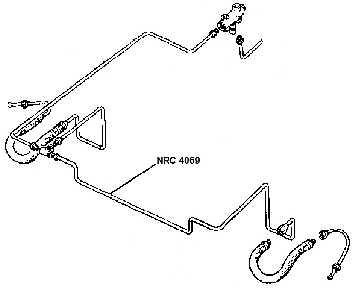 NRC 4069 - Brake Pipe, Front connector to LH Front Flexible Hose