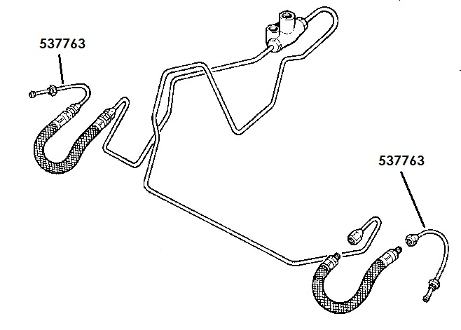 "537763 - Brake Pipe, Front Hose to Wheel Cylinder, 109"" Front, up to June 1980"