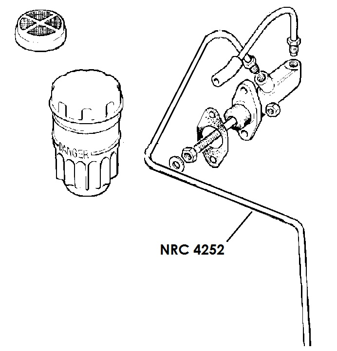 "NRC 4252 - Brake Pipe, Master Cylinder to 4-way or 3-way Connector, 109"" RHD only"