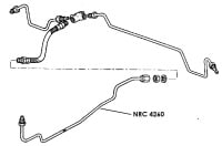 "NRC 4260 - Brake Pipe, Middle Connector to Rear Flexible Hose, 88"" Basic models"