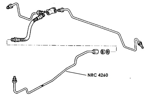 NRC 4260 - Brake Pipe, Middle Connector to Rear Flexible Hose, 88