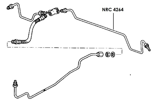 NRC 4264 - Brake Pipe, Rear Connector to LH Wheel Cylinder, 88
