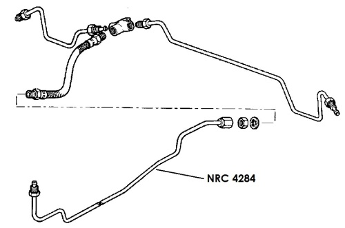 NRC 4284 - Brake Pipe, Middle Connector to Rear Flexible Hose, 88