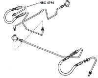 NRC 4794 - Brake Pipe, Front Hose to Right Hand Top Wheel Cylinder, 6-cylinder and V8 models from July 1980 onwards