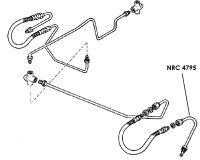 NRC 4795 - Brake Pipe, Front Hose to Left Hand Top Wheel Cylinder, 6-cylinder and V8 models from July 1980 onwards