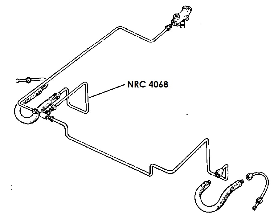 NRC 4068 - Brake Pipe, Front connector to RH Front Flexible Hose