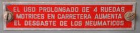 PLATE 059 - Tyre Life Warning Plate, Santana