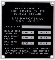 "PLATE 016 - Chassis Number Plate, Series 3, 109"" Petrol (TYPE 1)"