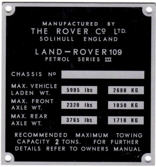 """PLATE 016 - Chassis Number Plate, Series 3, 109"""" Petrol (TYPE 1)"""
