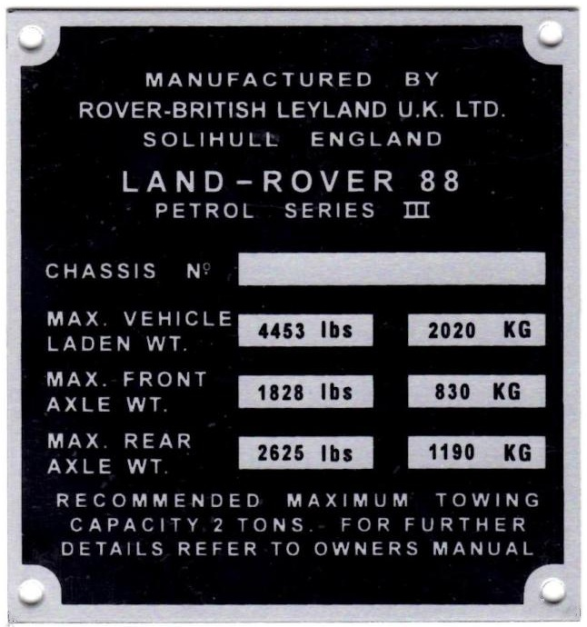 """PLATE 019 - Chassis Number Plate, Series 3, 88"""" Petrol (TYPE 2)"""