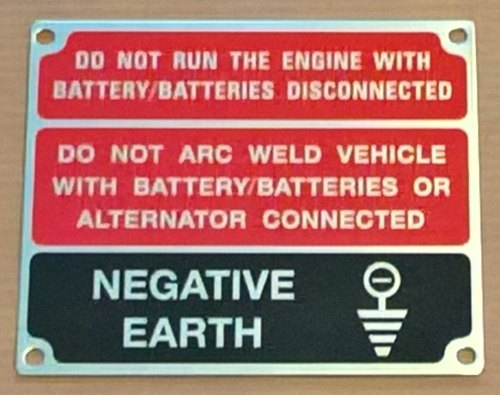 396116 (TYPE 1) - Warning Plate, Negative Earth, Black and Red