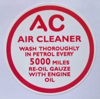 PSK 1309 - Label, AC Engine Breather, Red and White version