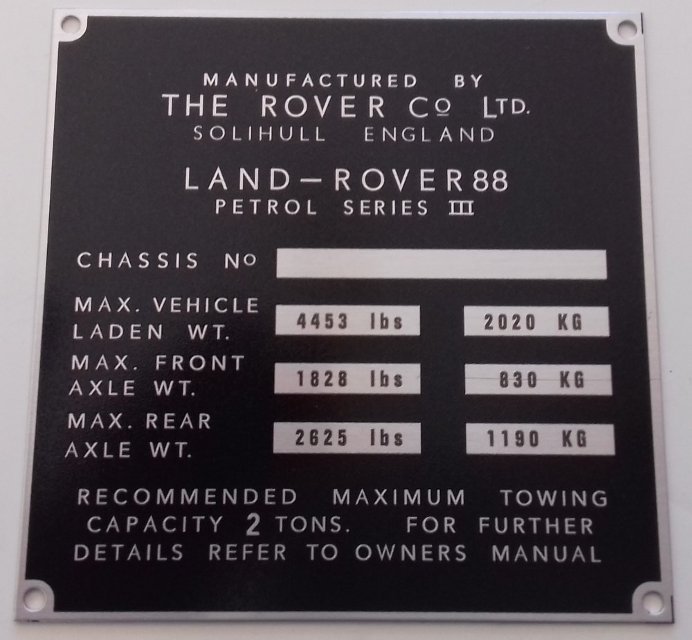 """PLATE 014 - Chassis Number Plate, Series 3, 88"""" Petrol (TYPE 1)"""