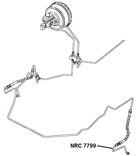 NRC 7799 - Brake Pipe, Hose to LH Caliper, up to VIN LA 939975 (SIS)