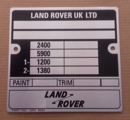 Image result for vin plate land rover