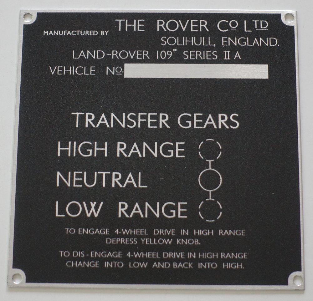 "PLATE 011 - Chassis Number Plate, Series 2a, 109"" (Type 2)"