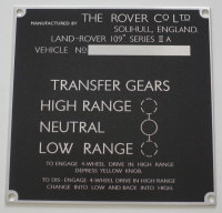 PLATE 011 - Chassis Number Plate, Series 2a, 109