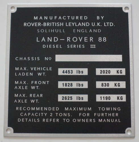 PLATE 020 - Chassis Number Plate, Series 3, 88