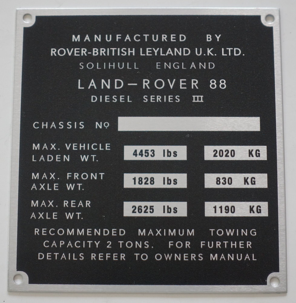 "PLATE 020 - Chassis Number Plate, Series 3, 88"" Diesel (TYPE 2)"