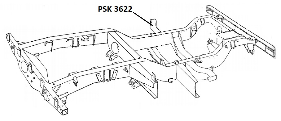 PSK 3622 - Chassis Outrigger, Bulkhead Mounting, LH Side, RHD models, 1954