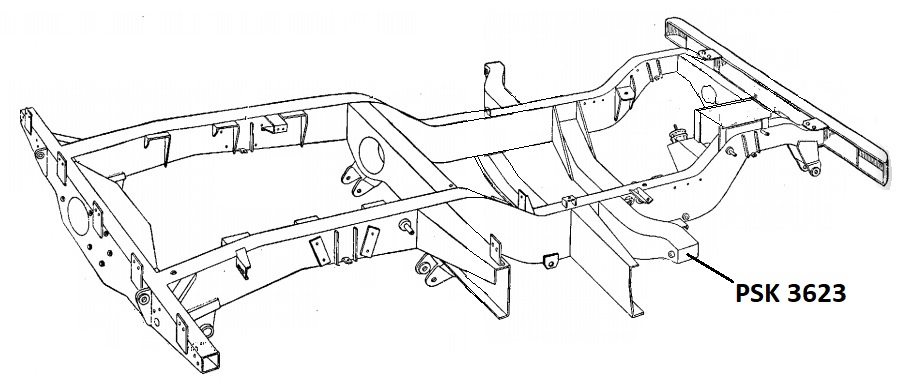 PSK 3623 - Chassis Outrigger, RH Side Bulkhead and Brake Master Cylinder Mo
