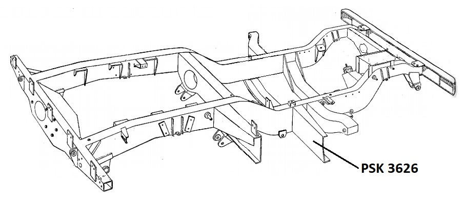 PSK 3626 - Chassis Outrigger, Front of Fuel Tank, 1954 to 1958