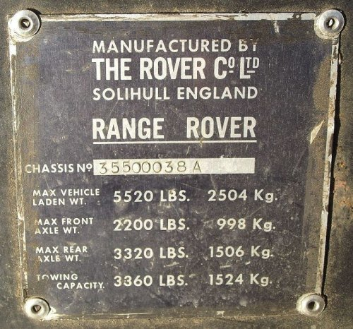 PLATE 050 - Chassis Number Plate, Type 1
