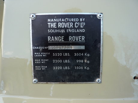 PLATE 051 - Chassis Number Plate, Type 2 up to September 1979