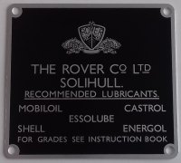 271940 (TYPE 1) - Oil Recommendation Plate, Square Type