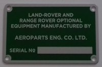 PLATE 033 - Aeroparts Eng. Co. Ltd Serial Number Plate