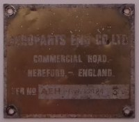 PLATE 034 - Aeroparts Eng Co Ltd, Commercial Road, Serial Number Plate