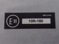 MRC 0168 - Label, E11, 10R-180, UK, Seat Belts and Anchorages compliance