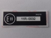 393270 - Label, E11, 11R-0032, UK, Front Fog Lamps compliance