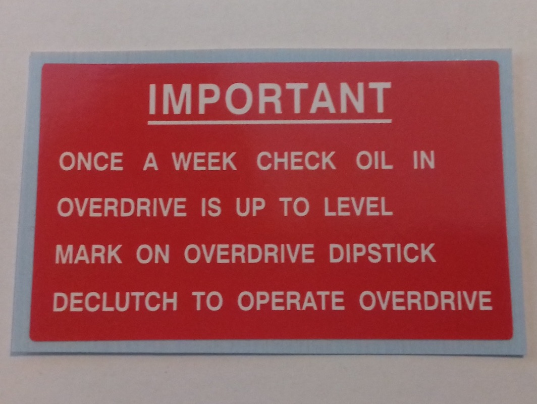 PSK 1325 - Label, Overdrive Oil Level Warning