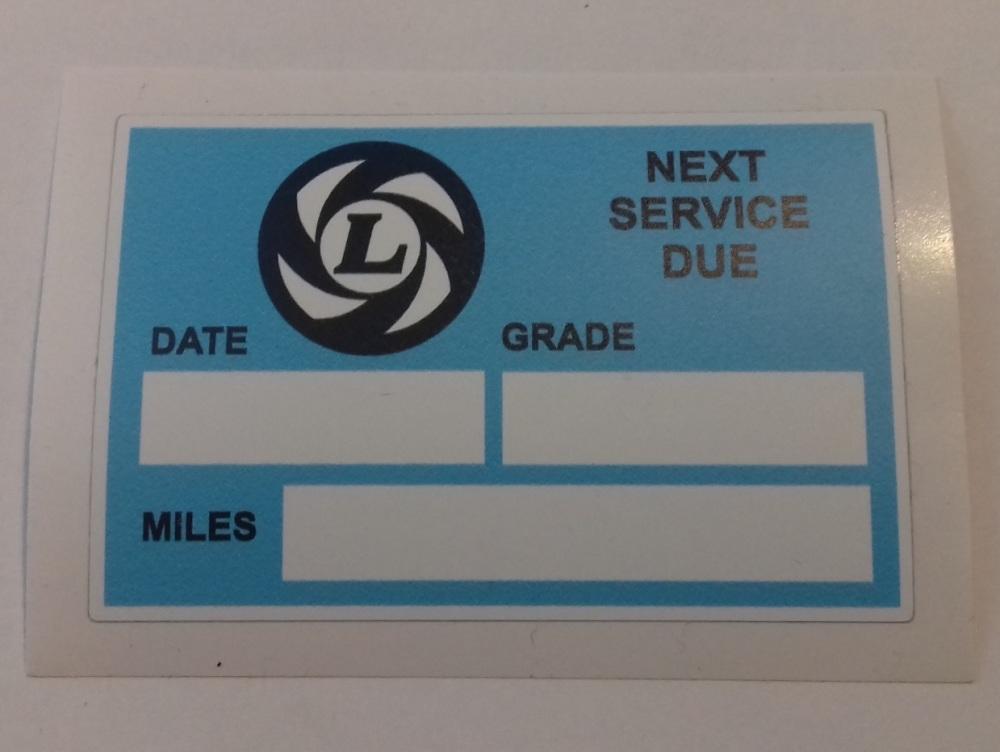 PSK 1326 - Label, Next Service Due, BL Logo