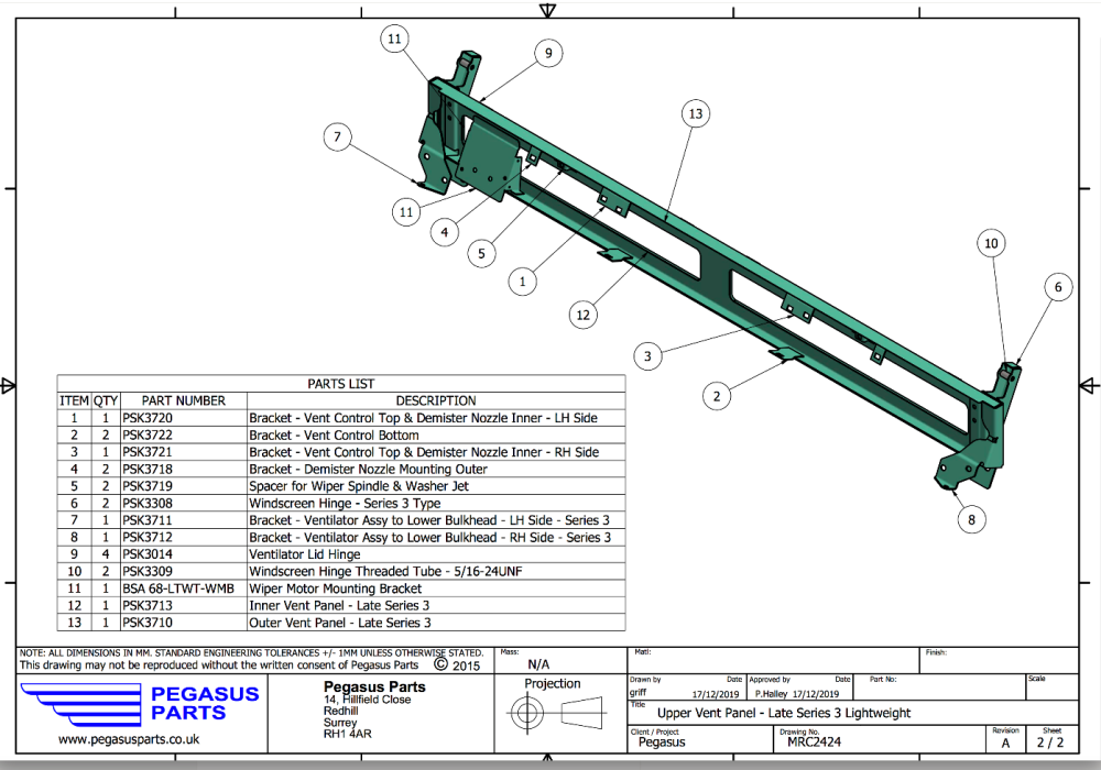 MRC 2424 - Bulkhead Upper Assembly, Series 3 Lightweight, Late Type