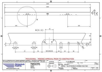 PSK 3050 - Stiffener, Top of Glove Box to Inner Ventilator Panel, Type 1