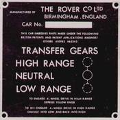 Chassis Number, Instruction and Warning Plates