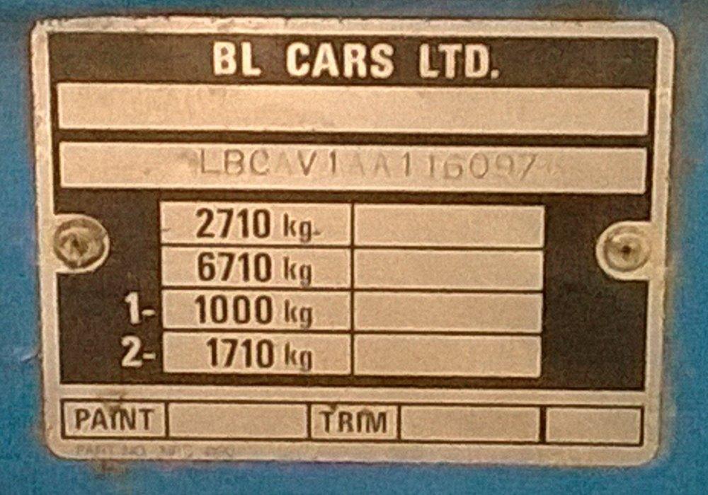 NRC 4190 - VIN Plate, Series 3 109 V8