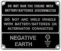 396116 (TYPE 2) - Warning Plate, Negative Earth, Black only