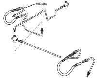 "NRC 4256 - Brake Pipe, Front Hose to Right Hand Top Wheel Cylinder, 4-cylinder models with 11"" Brakes"