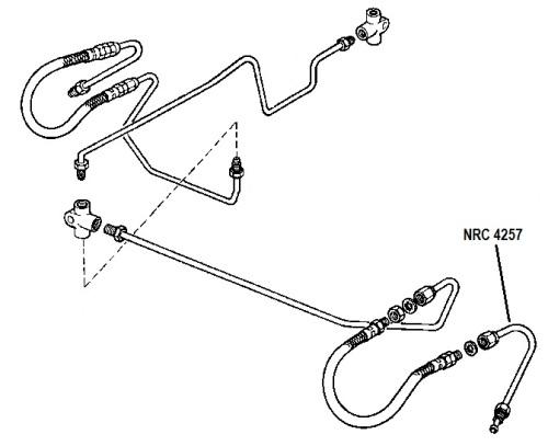 NRC 4257 - Brake Pipe, Front Hose to Left Hand Top Wheel Cylinder, 4-cylinder models with 11