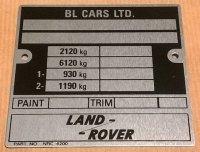 NRC 4200 - VIN Plate, Series 3 88 V8