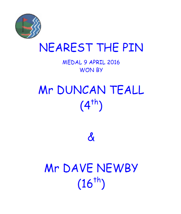 nearest the pin result - medal - 9 apr 16